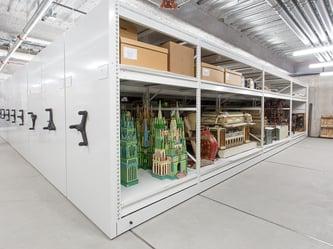 mechanical-assist mobile shelving